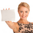 Gift card. Excited woman showing empty blank paper card sign wit — Stock Photo