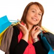 Attractive young woman in shopping — Stock Photo