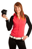Young woman photographer with camera in her hand — Stok fotoğraf