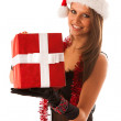 Attractive brunete girl in black dress with santa hat  and chris — Stock Photo