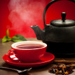 Teapot and tea cup arangement on a table — Stock Photo #35858763