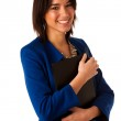 Attractive asian caucasian business woman holding a folder in he — Stock Photo #40188895