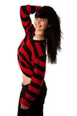 Attractive young woman in red and black sweater isolated over wh — Stock Photo