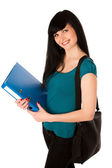 Young woman student with schoolbag and folder isolated — Stock Photo