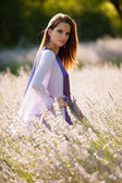 Beautiful young woman on lavander field - lavanda girl — Stock Photo