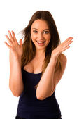 Excited asian caucasian woman — Stock Photo