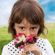 Flower Smelling — Stock Photo