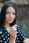 Smoking cigarette with passion — Stock Photo