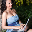 Smiling woman with laptop sitting under tree — Stock Photo #25032353