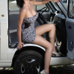 Sensual woman sitting retro car — Stock Photo #37643597