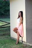 Fashion woman at ranch — Stock Photo