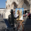 Street artist paints a picture of a Reims — Stock Photo #10564180