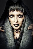 Costume and make up of sexy witch — Stock Photo
