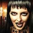 Brunette woman witch, Gothic make-up — Stock Photo #12637069