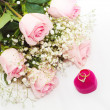 Wedding Rings and Rose — Stock Photo #13785999