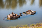 Ship wreck in a Volga river — Stock Photo