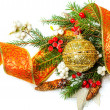 Christmas Decorations border over white — Stock Photo
