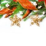frontera de decoraciones de Navidad sobre blanco — Foto de Stock