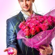 Stock Photo: Valentines Mwith flowers