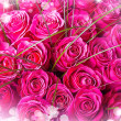Beautiful big bouquet of pink roses — Stock Photo