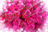 Beautiful big bouquet of pink roses — Stock fotografie