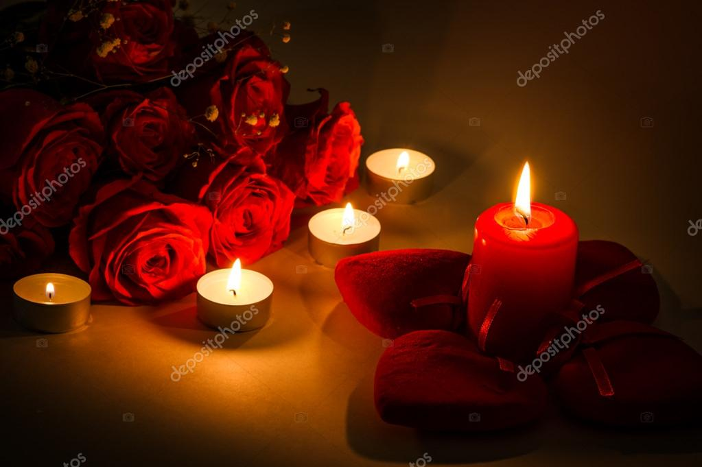 Romantic background for valentines day with candles and red hearts — Stock Photo #18987607
