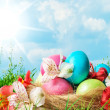 Easter eggs decorated with flowers - Stock Photo
