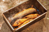 Smoked river fish in smokehouse — Zdjęcie stockowe