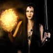 Young sexy woman witch warrior — Stock Photo