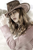 Sexy Woman wearing cowboy hat — Stock fotografie