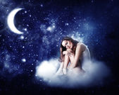 Young beautiful woman sleeping — Foto Stock