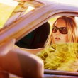Beautiful young sexy woman in car - Stock Photo