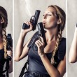 Woman holding two hand gun — Stock Photo #23957115