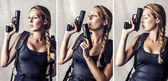 Woman holding two hand gun — Stock Photo