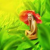 Beautiful sexy woman flower pixie — Stock Photo