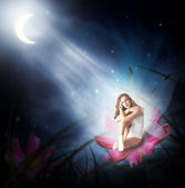 Fantasy. woman as fairy with wings — Stock Photo