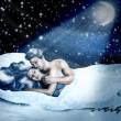 Stock Photo: Loving fairy couple in bed of snow