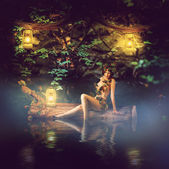 Fairytale beautiful woman - wood nymph — Stock Photo