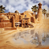 Old fantasy city and lake in the desert — Stock Photo