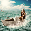 Travel. Woman with luggage on boat — Stock Photo