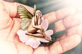 Beautiful woman pixie with butterfly wings — Stock Photo