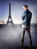 Fashion handsome man in Paris, France — Stock Photo