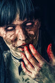 Scary zombie woman — Stock Photo