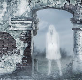 Fantastic transparent white woman ghost — Stock Photo