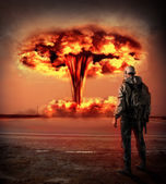 World Apocalypse. Nuclear explosion outdoor. — Stock Photo