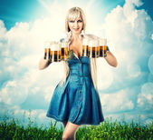Oktoberfest woman with six beer mugs — Stock Photo