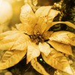 Golden Christmas decoration on branch of fir tree — Stock Photo