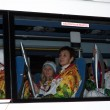 Russian champions - Participants Olympic torch relay — Stock Photo