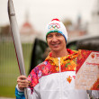 Aleksey Kolesnikov carrying Olympic torch, Kolomna, Russia — Stock Photo