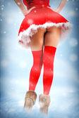 Tarjeta de navidad sexy - piernas en medias — Foto de Stock